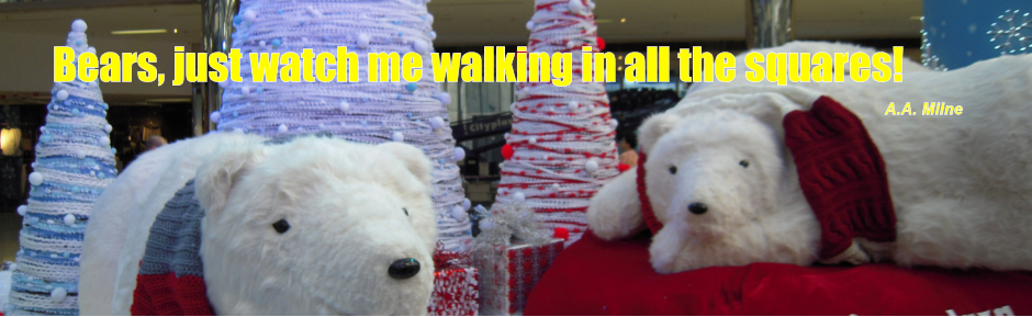 Bears, just watch me walking in all the squares! A.A. Milne